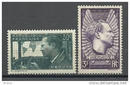 "FR YT 337 & 338 "" Aviateur Jean Mermoz "" 1937 Neuf** - France"