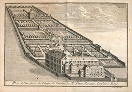 Vue Du Collège Des Jésuites Anglais à Liège En 1738 - Prints & Engravings