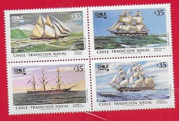 CILE CHILE MNH - 1986 Naval Traditions - 4 X 35 $ - Michel CL 1133 - 1136 - Cile