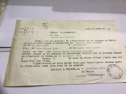 Permis D'inhumation Acte De Décès Commune De Fraize Dans Les Vosges Plainfaing - France