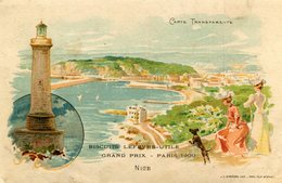 CARTE TRANSPARENTE(NICE) PUBLICITE BISCUIT LEFEVRE UTILE(EXPOSITION PARIS 1900) - Hold To Light