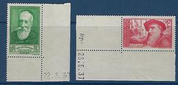 """FR YT 343 & 344 """" A. France - A. Rodin """" 1937 Neuf** BDF Daté - Nuevos"""