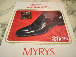 ANCIENNE PUBLICITE ELEGANCE MOINS CHER CHAUSSURE MYRYS  1968 - Habits & Linge D'époque