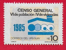 URUGUAY MNH - 1986 6th Anniversary Population And The 4th Anniversary Of The Housing Census - 10 N$ - Michel UY 1770 - Uruguay