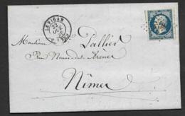 Gard-Lettre-PC 3578 De Le Vigan Sur N°14A-1856 - Poststempel (Briefe)