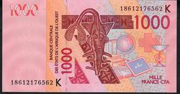 W.A.S. SENEGAL  P715Kr  1000 FRANCS 2018  UNC. - Senegal