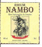Etiquette  RHUM Nambo - Traditionnel Des Iles Françaises - Distillerie Girard, Jonquières - Thème Pirate - Flibustier - - Rhum