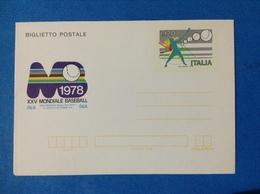 1978 ITALIA BIGLIETTO POSTALE NUOVO MNH** - XXV MONDIALE BASEBALL - Entiers Postaux