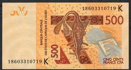 W.A.S. SENEGAL  P719Kg 500 FRANCS 2018  UNC. - Sénégal