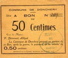 Ardennes. DONCHERY. 1915. Bon De Nécessité De 50 Centimes - Coins & Banknotes