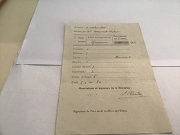 Note Du 1913 école De Remiremont Relevé De Notes Nature Des Compositions Place Obtenue Par L'élève Conduite Politesse Le - Diplômes & Bulletins Scolaires