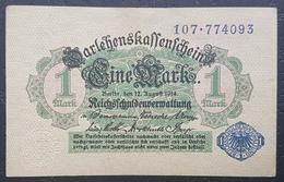 EBN12 - Germany 1914 (1920) Banknote 1 Mark Blue Serial & Seal Pick #52 - [ 2] 1871-1918 : German Empire