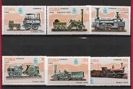"CUBA MNH - 1986 World's Fair ""EXPO '86"" - Vancouver, Canada - Railway Locomotives - Vari ¢ - Michel CU 3017 - 3022 - Nuovi"