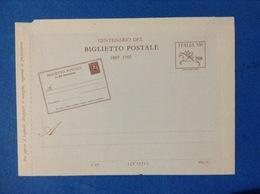 1989 ITALIA BIGLIETTO POSTALE NUOVO MNH** - CENTENARIO PRIMO BIGLIETTO - Interi Postali