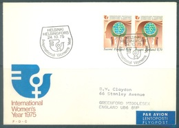 FINLAND - 24.10.1975 - FDC - AIR MAIL TO UK - WOMEN'S YEAR  - Yv 738 Mi 774 - Lot 18983 - Finlande