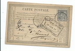 N° YT 77 Sur Carte Postale De Tourcoing Pour Avers Belgique 1877 - 1876-1898 Sage (Type II)