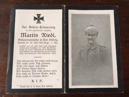 Sterbebild Wk1 Ww1 Bidprentje Avis Décès Deathcard RIR18 Somme Gasgranate 29. Juli 1916 Aus Bad Aibling - 1914-18