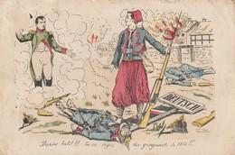 """Rare Cpa Napoléon Félicitant Un Zouave """"Brave Petit Tu Es Digne Des Grognards De 1814"""" - 1914-18"""