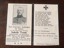 Sterbebild Wk1 Ww1 Bidprentje Avis Décès Deathcard IR3 BREST LITOWSK 26. August 1915 Aus Degenberg - 1914-18