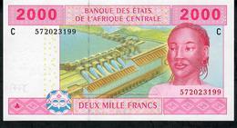 C.A.S. CONGO RARE SIGNATURE COMBINATION P608Cd 2000 Francs 2002 Signature 12 UNC. - Central African States