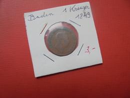 BADEN 1 KREUZER 1849 (A.6) - [ 1] …-1871 : German States