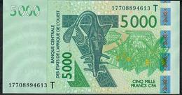 W.A.S. LETTER T TOGO  P817Tq 5000 FRANCS (20)17 2017  UNC. - États D'Afrique De L'Ouest