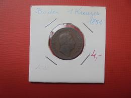 BADEN 1 KREUZER 1851 (A.6) - [ 1] …-1871 : German States