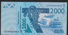 W.A.S. LETTER T TOGO  P816Tq 2000 FRANCS (20)17 2017  UNC. - West African States