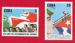 "CUBA MNH - 1986 30th Anniversaries ""Granma"" Landings And The Revolutionary Armed Forces - Vari ¢ - Michel CU 3069 - 3070 - Cuba"