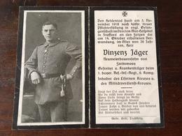 Sterbebild Wk1 Ww1 Bidprentje Avis Décès Deathcard RIR1 Krankenträger BROCTON War Hospital Stafford Cannock Chase - 1914-18