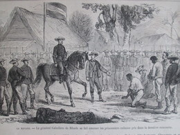 Gravure  1869  La Havane Cuba    Le Général  CABALLERO    De RHODA    Prisonniers Cubains - Géorgie