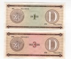 B38 - CUBA 2 Certificats De Devises 1-3 Pesos 1er Choix Série D - Cuba