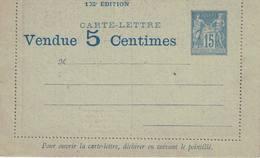 France: Entier Carte Lettre Publicitaire,15c Sage, Vendue 5 Centimes. Neuve - Entiers Postaux