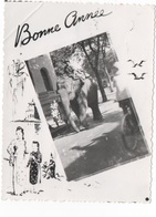 BONNE ANNEE - PTE CARTE PHOTO (VIET-NAM ?) CRANTEE N/B - VOYAGEE EN 1950 - Nouvel An