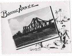 BONNE ANNEE - PTE CARTE PHOTO (VIET-NAM ?) CRANTEE N/B - VOYAGEE EN 1951 - Nouvel An
