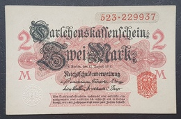 EBN12 - Germany 1914 WWI Banknote 2 Mark Red Serial & Seal, Uncoloured Underprint,  Pick #58 - [ 2] 1871-1918 : German Empire
