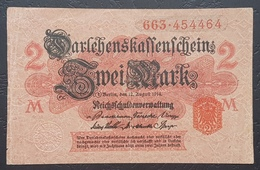 EBN12 - Germany 1914 WWI Banknote 2 Mark Red Serial & Seal, All Red Underprint,  Pick #59 - [ 2] 1871-1918 : German Empire
