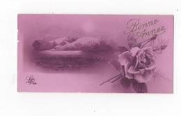 BONNE ANNEE - PTE CARTE COULEUR 10.9 X 5.3 - PAYSAGE ET ROSES - VOYAGEE 1929 - New Year