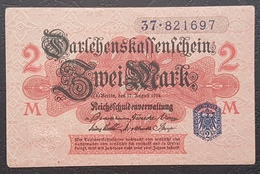 EBN12 - Germany 1914 WWI Banknote 2 Mark Blue Serial & Seal, All Red Underprint,  Pick #55 - [ 2] 1871-1918 : German Empire