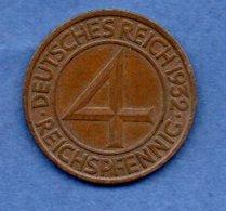 Allemagne  - 4 Reichspfennig  -  1932 A  - Km # 75  -  état  SUP - 4 Reichspfennig