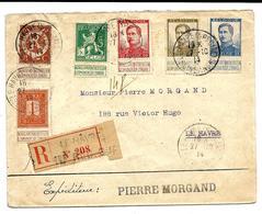 N° 108-109-110-123-124-125 LE HÂVRE (SPECIAL) 18 * / 27.10.14 S/Lettre RECOM.(étiquette Française-1er REG..SUP). 4e JOUR - Guerre 14-18