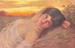 GUERZONI -Illustrateur Italien- Femme étendue Seins Nus Voilés.N.3097-4 - Kirchner, Raphael