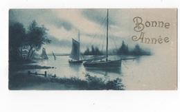 BONNE ANNEE - PTE CARTE COULEUR 10.9 X 5.3 -BATEAUX - VOYAGEE 1924 - New Year