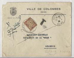 Lettre Locale - Colombes - 1934 - Non Affranchie Et Taxée à 1 Fr Par Taxe N°40 (lilas Brun Sur Paille) - 1859-1955 Covers & Documents