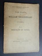 8) SHAKESPEARE MERCHANT OF VENICE IN 37 PARTS N° 6 LEIPZIG 1868 77 PAGINE - Drammi