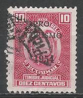 Ecuador 1954. Scott #RA69 (U) Arms Of Ecuador, Revenue Stamp * - Equateur