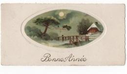 BONNE ANNEE - PTE CARTE EN MEDAILLON PAYSAGE COULEUR 11 X 5.5  - VOYAGEE - New Year