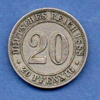 Allemagne  - 20 Pfennig 1888 A  - Km # 9.1  -  état  TTB - [ 2] 1871-1918 : Empire Allemand