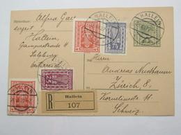1922 , Einschreiben Ganzsache  Aus Hallein - Briefe U. Dokumente