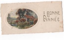 BONNE ANNEE - PTE CARTE EN MEDAILLON PAYSAGE COULEUR 11 X 5.5  - VOYAGEE - Nouvel An